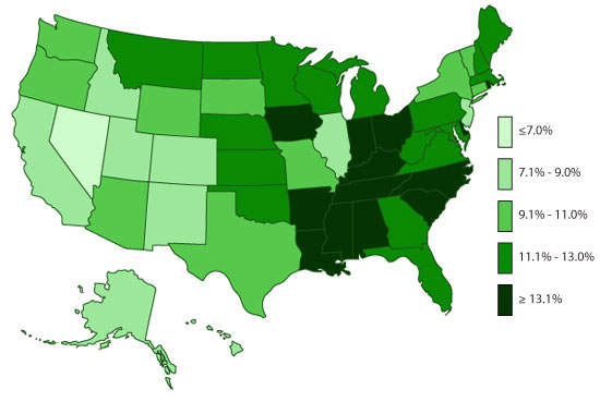 State-based Prevalence Data of ADHD Diagnosis (2011-2012)- Children EVER diagnosed with ADHD