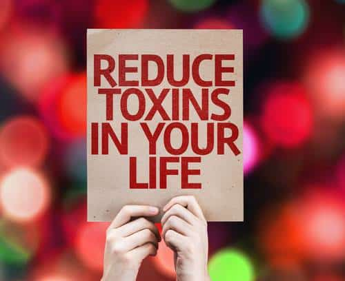 Hands holding placard about reducing toxins
